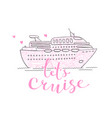 cute card with a cruise ship concept vector image vector image