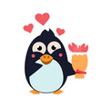 cute penguin on iceberg with flowers vector image vector image