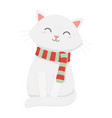 cute white cat with scarf celebration merry vector image