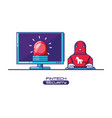 desktop computer with financial technology vector image