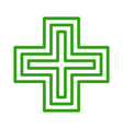 european pharmacy green cross sign icon vector image