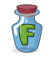 F in bottle for experiments Letter in vessel vector image vector image