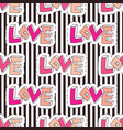 fashion seamless pattern on striped backdrop love vector image vector image