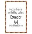 flag v12 ecuador vector image vector image