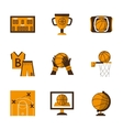 Flat style basketball orange icons vector image