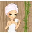 Girl Relaxing With Cup Of Tea vector image