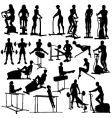 gym workout silhouettes vector image vector image