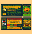 halloween ticket template for horror night party vector image vector image