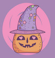 happy halloween celebration lovely pumpkin with vector image