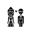 happy newlyweds black icon sign on vector image vector image
