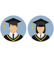 icons set student graduate avatar vector image vector image