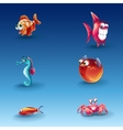 kit funny cartoon fishes vector image vector image