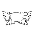 line silhouette hippopotamus with exotic leaves vector image vector image