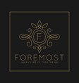 luxurious letter f logo with classic line art vector image vector image