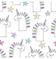 magic cute unicorn background with stars vector image vector image