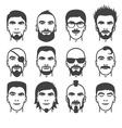 man faces set vector image vector image