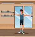 man sports barbell training gym workout vector image