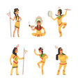 native american indians cartoon characters set vector image