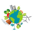 our planet and its environment on white background vector image