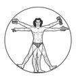 party vitruvian man sketch engraving vector image vector image
