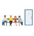 people waiting in line in clinic corridor queue vector image