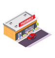 pharmacy store facade with signboard isometric vector image