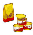 plastic bag with dry food for pet isolated on vector image vector image