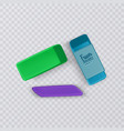 realistic and colorful erasers on transparent vector image