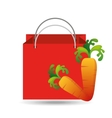 red bag buying harvest carrot vegetable vector image vector image
