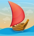Romantic boat with red sail on a sunset background vector image