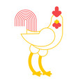rooster white cock isolated farm bird on white vector image vector image