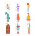 set of people in funny costumes man characters vector image vector image