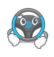 smirking steering wheel in the character shape vector image vector image