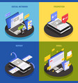 social media technology isometric concept vector image vector image