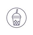 tapioca drink line icon on white vector image