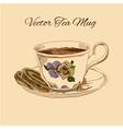 Tea mug and cake vintage style vector image vector image