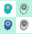 think positive concept icon set in flat and line vector image vector image