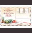 vintage christmas postcard 4 vector image vector image