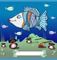 cartoon fish in the depths of the ocean vector image