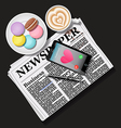 newspaper and smart phone with latte and macaroons vector image