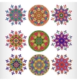 Set of nine ornamental round lace pattern vector image