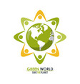 abstract group of people around the planet concept vector image