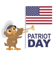 Patriot Day USA Owl bugler in white cap plays vector image