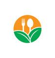 circle leaf restaurant eco logo vector image