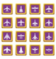 airplane top view icons set purple square vector image vector image