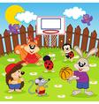 animals play basketball vector image