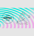 basketball player with ball outline of vector image