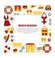 beach season banner template with summer travel vector image vector image