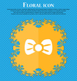 Bow tie icon sign Floral flat design on a blue vector image vector image
