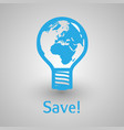 bulb earth paper for save energy vector image